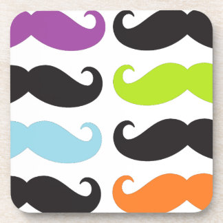 Bright Mustaches Drink Coaster