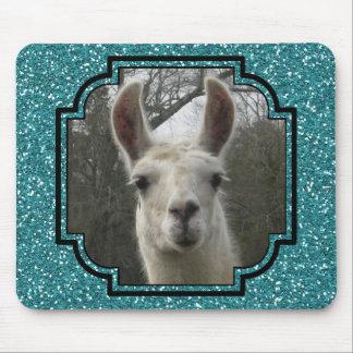 Bright N Sparkling Llama in Aquamarine Mouse Pad