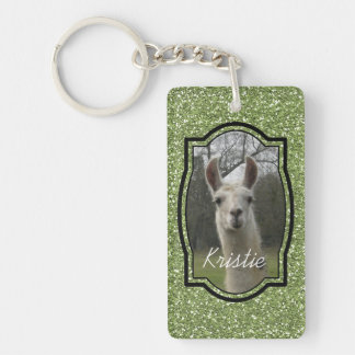 Bright N Sparkling Llama in Green Double-Sided Rectangular Acrylic Keychain