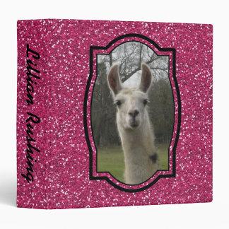 Bright N Sparkling Llama in Hot Pink Binder