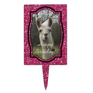 Bright N Sparkling Llama in Hot Pink Cake Topper