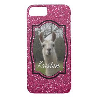 Bright N Sparkling Llama in Hot Pink iPhone 7 Case