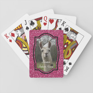 Bright N Sparkling Llama in Hot Pink Playing Cards