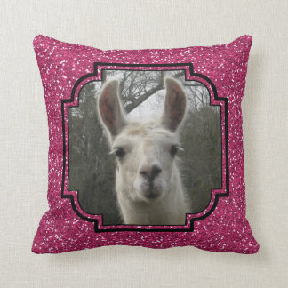 Bright N Sparkling Llama in Hot Pink Throw Pillow