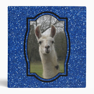 Bright N Sparkling Llama in Royal Blue 3 Ring Binder