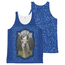 Bright N Sparkling Llama in Royal Blue All-Over-Print Tank Top