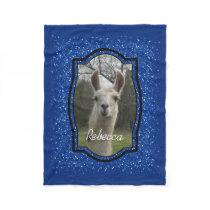 Bright N Sparkling Llama in Royal Blue Fleece Blanket