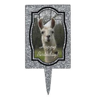 Bright N Sparkling Llama in Silver Cake Topper