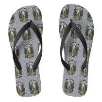 Bright N Sparkling Llama in Silver Flip Flops