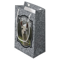 Bright N Sparkling Llama in Silver Small Gift Bag