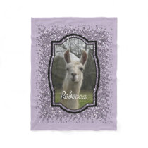 Bright N Sparkling Llama in Smokey Lavender Fleece Blanket