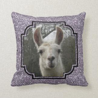 Bright N Sparkling Llama in Smokey Lavender Throw Pillow