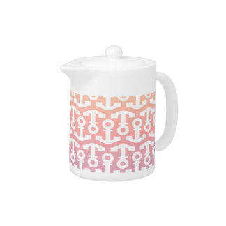 Bright Nautical Anchor Design Teapot
