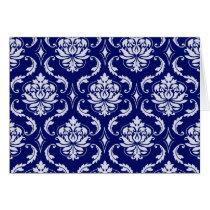 Bright Navy Blue Damask Pattern