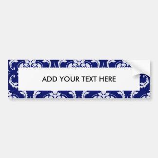Bright Navy Blue Damask Pattern Bumper Sticker