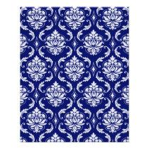 Bright Navy Blue Damask Pattern Flyer