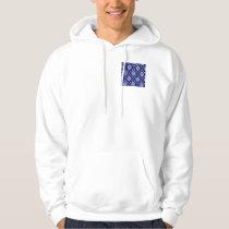 Bright Navy Blue Damask Pattern Hoodie