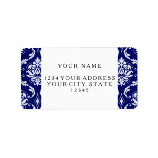 Bright Navy Blue Damask Pattern Label