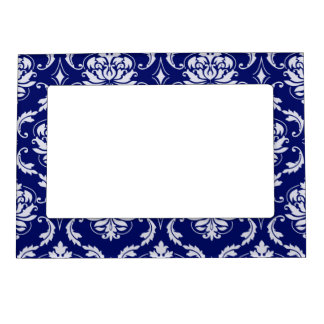 Bright Navy Blue Damask Pattern Picture Frame Magnets