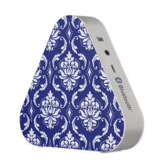 Bright Navy Blue Damask Pattern Speaker