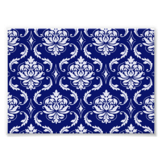 Bright Navy Blue Damask Pattern Photo Print