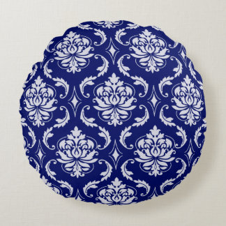 Bright Navy Blue Damask Pattern Round Pillow