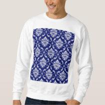 Bright Navy Blue Damask Pattern Sweatshirt