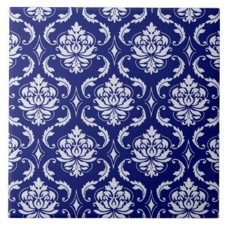 Bright Navy Blue Damask Pattern Tile