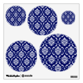 Bright Navy Blue Damask Pattern Wall Decal