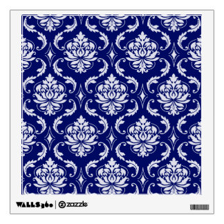 Bright Navy Blue Damask Pattern Wall Sticker
