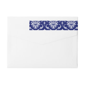 Bright Navy Blue Damask Pattern Wrap Around Label