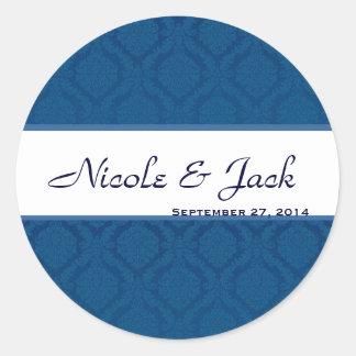 BRIGHT NAVY BLUE Diamond Damask Wedding Sticker