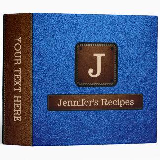 Bright Navy Blue Elegant Recipe Leather Look Binder