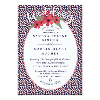 Bright Navy Ditsy Floral Wedding Card