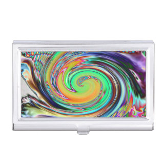 Bright Neon Abstract Vortex Swirls Business Card Holders