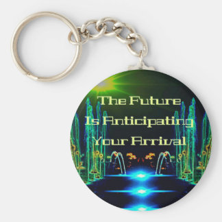 Bright Neon Abstract Waterfall  with Quote Keychain