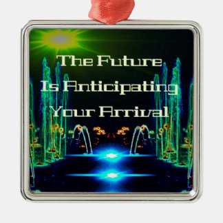 Bright Neon Abstract Waterfall  with Quote Metal Ornament