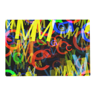 Bright Neon Alphabet Letters Laminated Place Mat