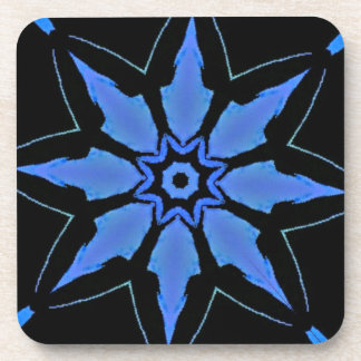 Bright Neon Blue Star Shaped Pattern Coaster