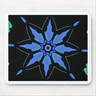 Bright Neon Blue Star Shaped Pattern Mouse Pad