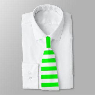 Bright Neon Chartreuse Green and White Stripe Tie