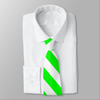 Bright Neon Chartreuse Green Striped Necktie