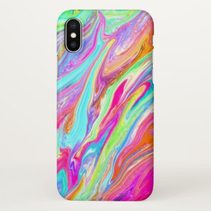 Bright Neon Color Swirl IPhone X Case
