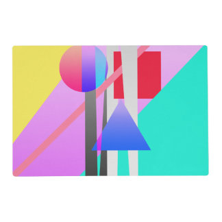Bright Neon Colorful Geometric Shapes Pattern Laminated Placemat