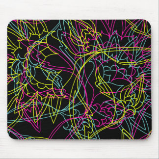 Bright Neon Colors Line Art Pink Teal Lime Mouse Pad