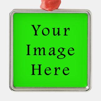 Bright Neon Green Color Trend Blank Template Ornament