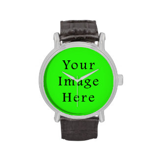 Bright Neon Green Color Trend Blank Template Wristwatches