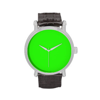 Bright Neon Green Color Trend  Blank Template Wrist Watch