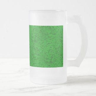Bright Neon Green Cork Bark Look Wood Grain Frosted Glass Beer Mug