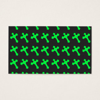 Bright Neon Green Crosses on a Black fabric Business Card